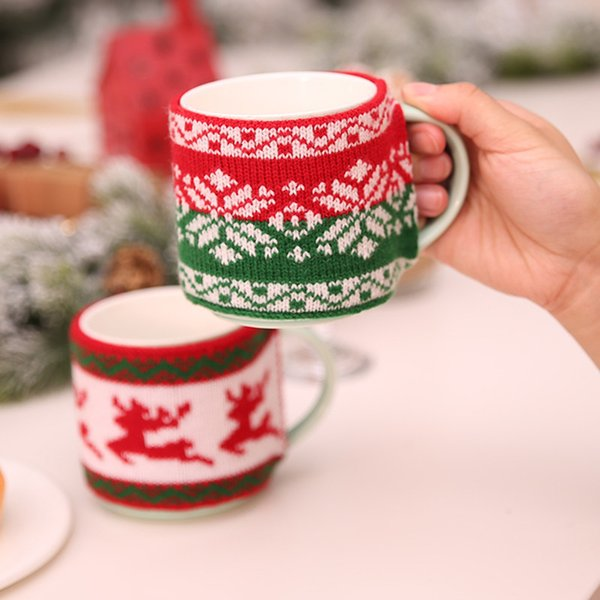 New Arrival Christmas Decoration for Home Mug Cover Christmas Tree Snowflake Elk Knitted Cup Cover New Year Party Table Decor Y18102609