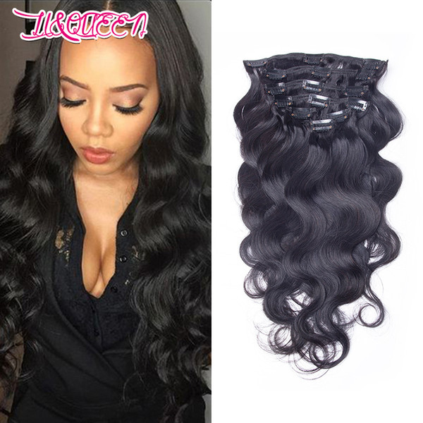 8A Brazilian Virgin Hair Body Wave Clip In Hair Extensions 120g Unprocessed Peruvian Indian Remy Human Hair Weaves 7Pieces/lot Full Head