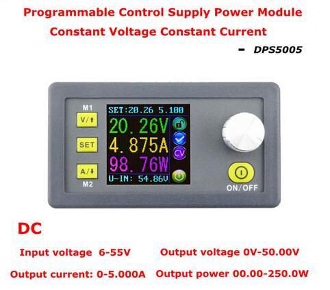 50V 5A Buck ajustable DC voltaje constante fuente de alimentación módulo integrado amperímetro voltímetro con pantalla a color