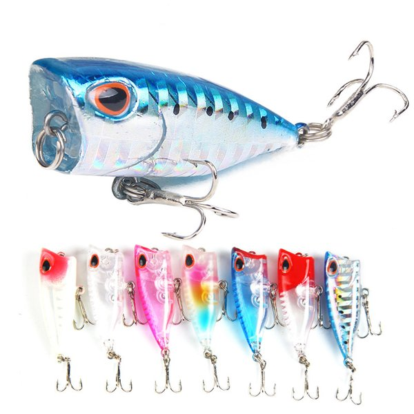 4cm/3.3gpoper Lures Bait New Artificial Bionic Hard Bait 7 Color Small Poper Lures Fake Bait Fishing Gear Wholesale