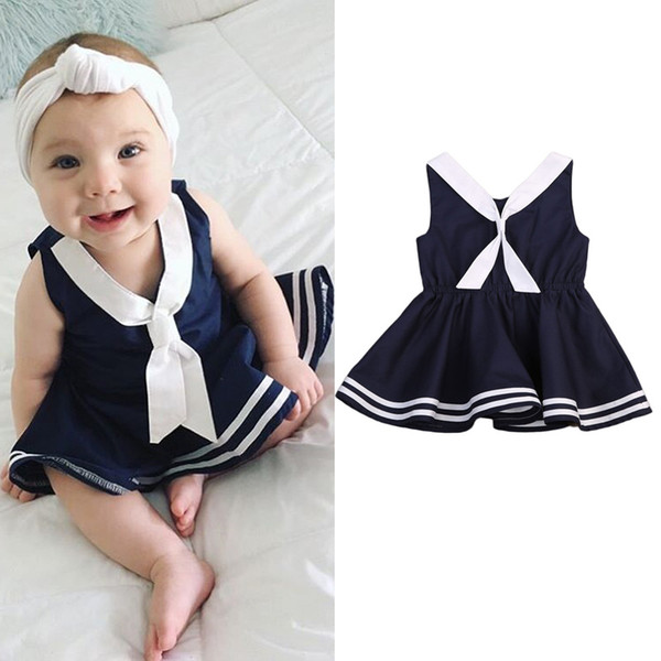 Abbigliamento per bambini 2018 Summer Baby Girl Abiti Princess Navy Dress Suit Striped Baby Abito senza maniche Casual Bebes Sailor Style Girls Dresses