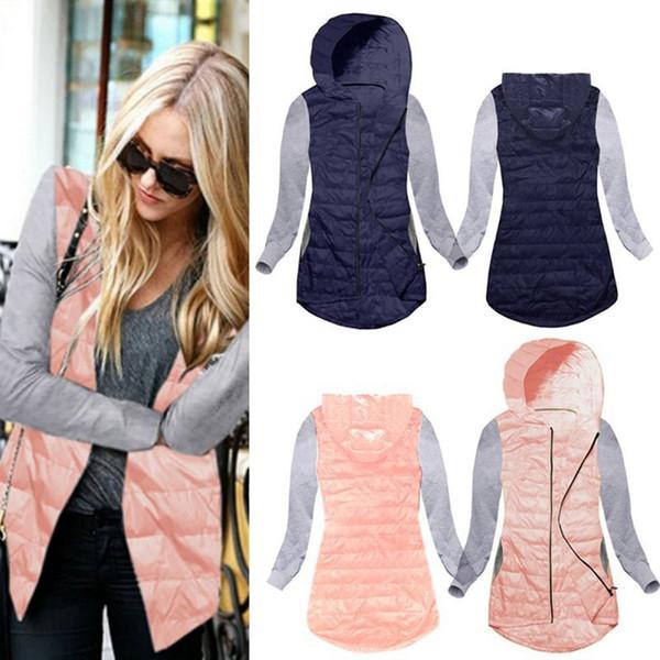 Kadın Temel Kıyafetler İnce Düzensiz Kukuletalı Fermuar Patchwork Ceket Sonbahar Kış Fit Outwear Femininos Coat Asymmetrical Ceketler 6pcs LJJO4384
