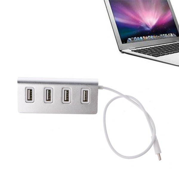 4-Ports USB 2.0 Type C Male Adapter High Speed Aluminum Portable Data Hub for MacBook Air/Pro Surface Smartphone USB Flash Drives Devices