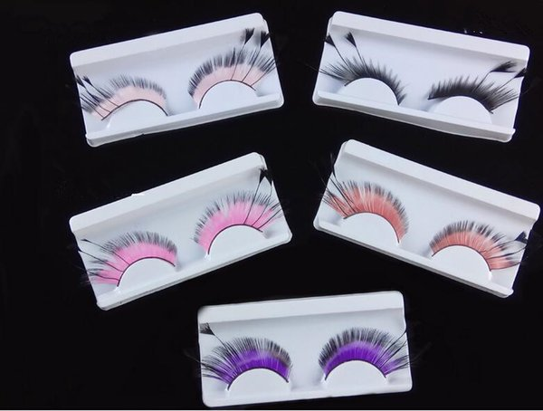 Stage exaggerated drama pure hand tail feathers false eyelashes European and American parties five colors boxed wholesale.