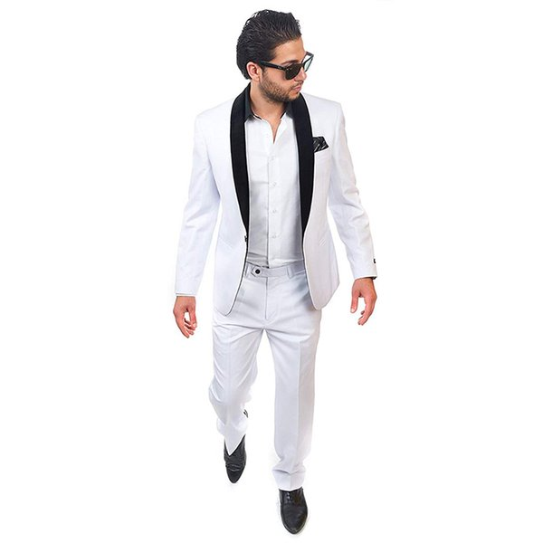 2018 latest coat pant designs white men suits black shawl lapel suits for wedding prom handsome groom tuxedo groomsman 2 pieces
