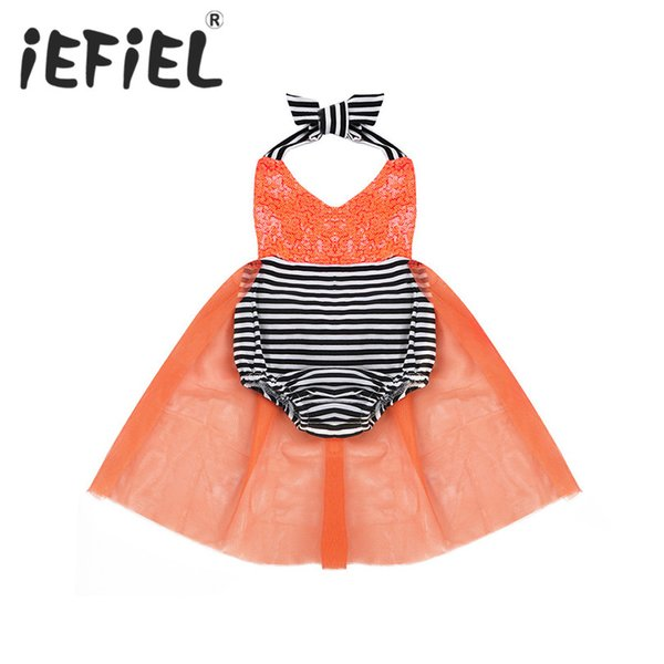 iEFiEL Newborn Toddler Infant Baby Girls Halter Sequins V-neckline Romper Jumpsuit for Halloween Cosplay Party Costumes Clothes