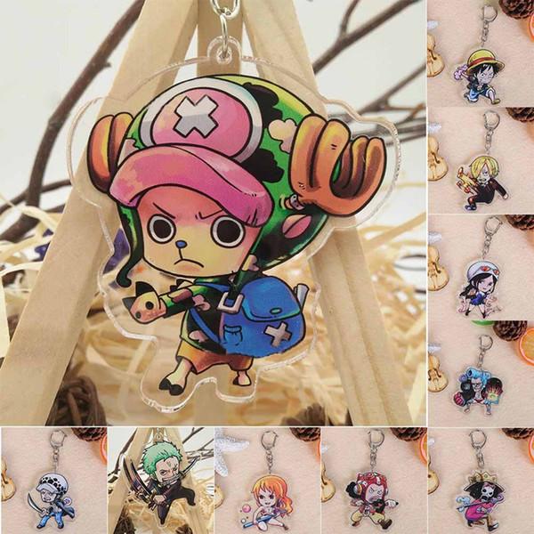 Anime Acrylic Keychain Luffy Zoro Nami Sanji Chopper Franky Usopp Robin Brook Law Action Figure Keychain Key Rings
