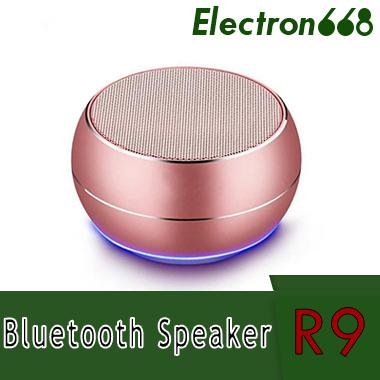 R9 Metal Mini Bluetooth Speakers LED Light Subwoofer Wireless Speaker Computer Support TF FM Mic For iPhone X 8 7S Samsung S8 Edge sound bar