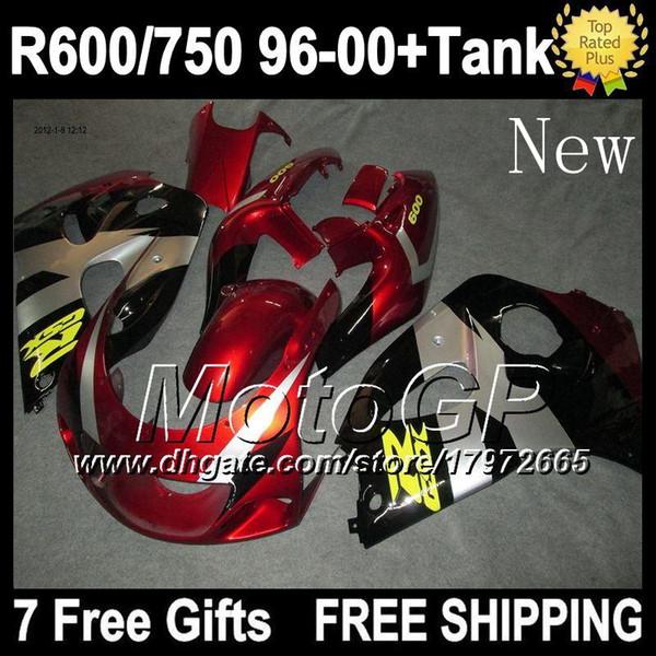 +Tank For SUZUKI GSX R750 R600 SRAD GSXR 750 600 1996 1997 1998 1999 2000 Red black GSXR600 GSXR750 96 97 98 99 00 Fairings Dark red blk