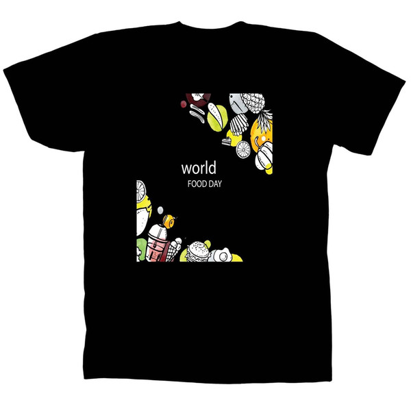 World Day Food Man In The Sky and Woman's Black T-Shirt Tee V312