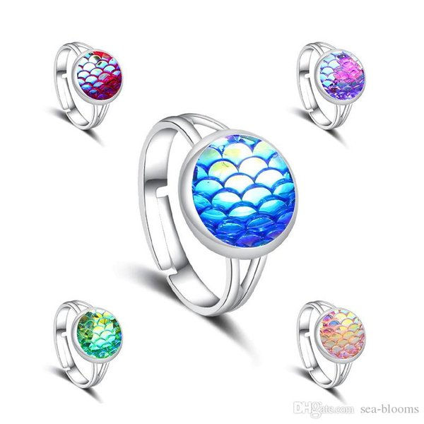 Multicolor Natural Stone Drusy Druzy Adjustable Rings Vintage Design Fish Scale Rings for Men Women Lady Jewelry Wedding Party Gift H648R