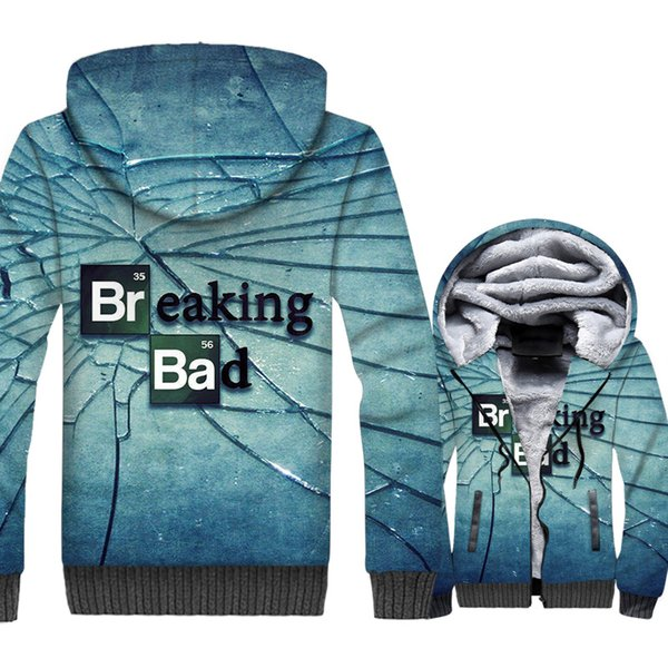 New Fashion 3D Print Sweatshirts For Men 2018 Autumn Winter Brand Clothing Breaking Bad Punk Streetwear Jackets Men's Hoodies