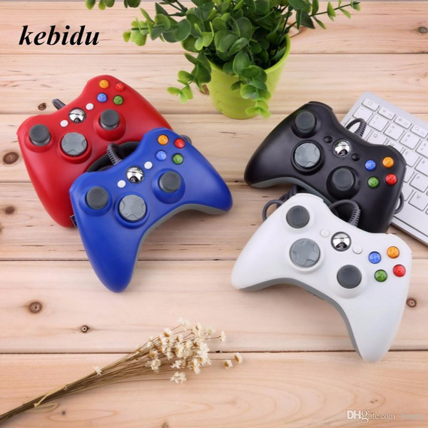 kebidu USB Wired Joypad Gamepad For Microsoft Xbox 360 Console Wired Controller Black White Red Blue For PC Game Joystick