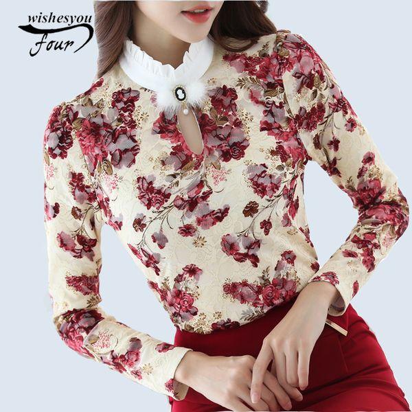 2017 Casual İlkbahar Sonbahar Yüksek Yaka Tığ Dantel Çiçek Bluzlar Kadınlar Bayanlar Dantel Kadınlar Bluzlar Uzun Kollu Gömlek S-3XL Tops