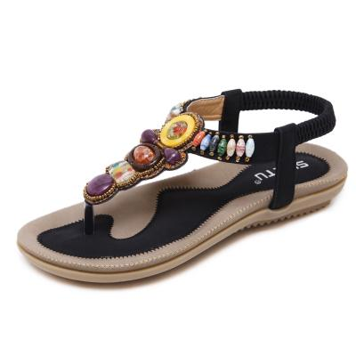 82d3ab9bc2d8ff Beach Flat Women Girls Bohemian Sandals Shoes Espadrilles Black Beaded  Ankle Strap Large Size Free Shipping