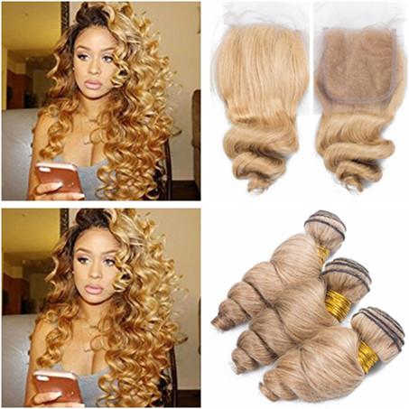 Virgin Indian Human Hair 3Bundles #27 Honey Blonde Loose Wave Weave with Closure Light Brown 4x4 Lace Closure Piece with Virgin Hair Wefts
