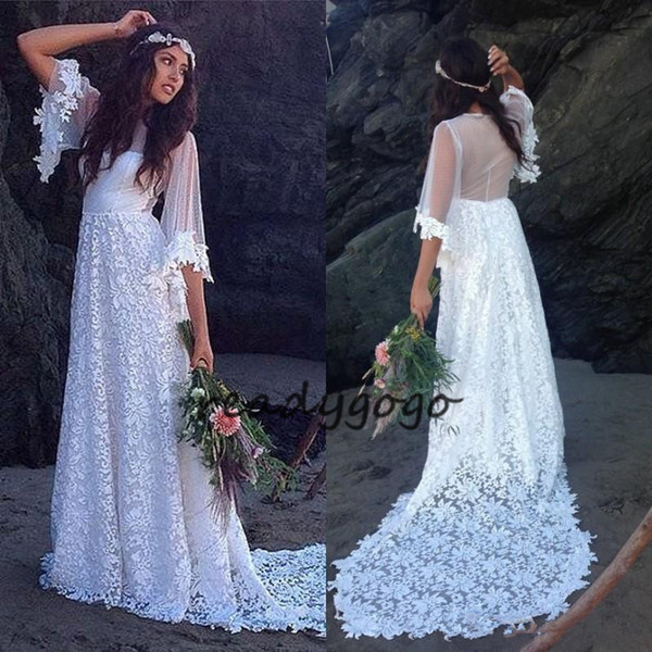 Vintage Long Bohemian Wedding Dresses 2018 A Line Sheer Back Bride Gowns Sweep Train Half Sleeves Elegant Bridal Gowns For Wedding Party
