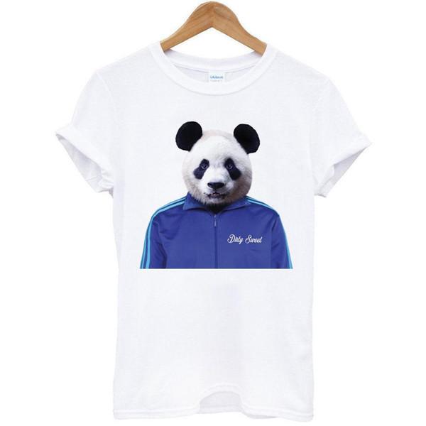 Panda Ceket hayvan komik mizah sanatı pop parti hediye beyaz t-shirt