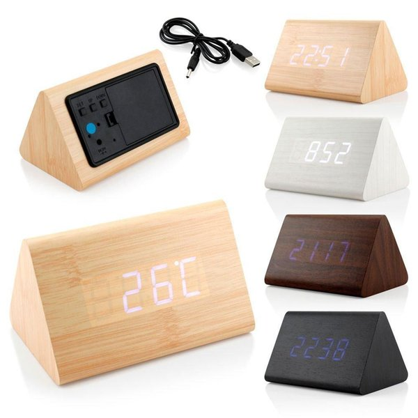 Triangle Wooden Clock Voice Control LED Digital alarm clock Desk Snooze Electronic table Watch Nixie Wood Bedside Alarm Clock HL30-3