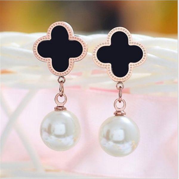 Mode coréenne titane acier bijoux trèfle perles boucles d'oreilles tempérament noble et généreux perle oreille pendentif bijoux d'oreille