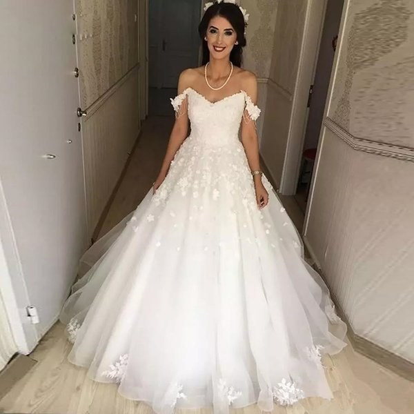 2018 Cap Sleeve Ball Gown Wedding Dresses 3D Flower Lace Appliqued ...