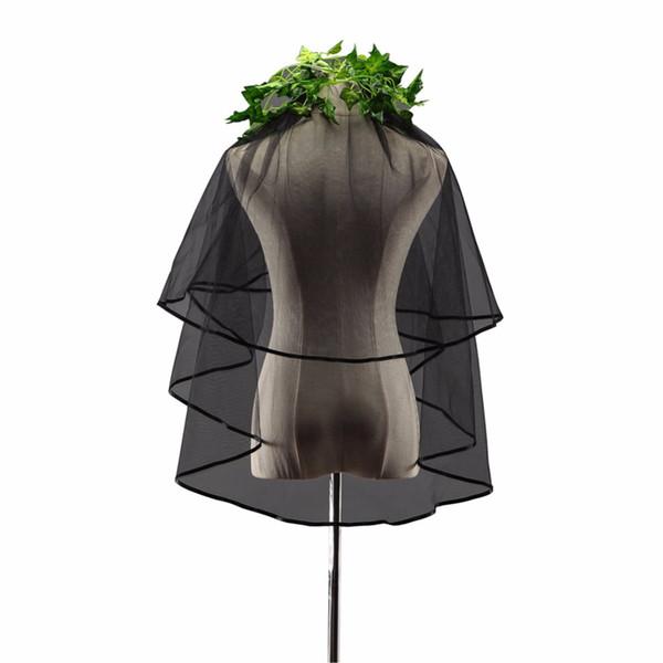 vente en gros 1,5 m noir court voile voile bord de ruban Veu De Noiva Curto voile de mariée pas cher avec peigne BL6