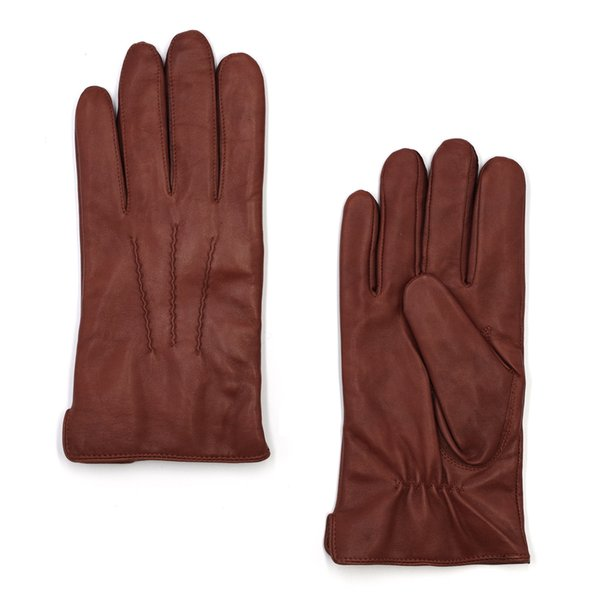 High Qulity Casual Mens Luxury Italian Sheepskin Leather Gloves Vintage Finished 100% Cashmere Lined Winter Brandy