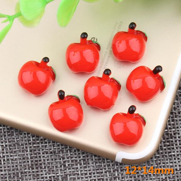 12 * 14 MM DIY taklit reçine meyve apple charms 3D kawaii cabochon reçine zanaat takı yapma bulguları süs dekorasyon