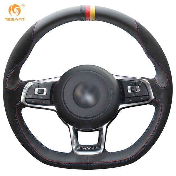MEWANT Black Leather Black Suede Steering Wheel Cover for Volkswagen Golf 7 GTI Golf R MK7 VW Polo GTI Scirocco 2015-2016