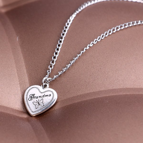 Family member gifts grandma heart pendants letter necklace Charms Women jewelry maxi statement necklace hot sale 2018