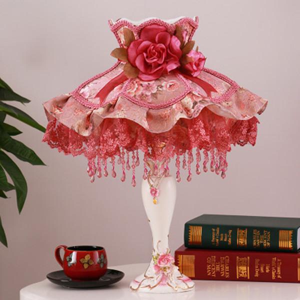 Colorido patrón decorativo lámpara de mesa dormitorio luz cama habitación junto a la boda flor mesa lámpara de luz palacio estilo princesa