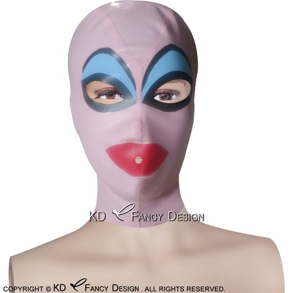 Pink With Blue Red Black Sexy Latex Hood With Fake Eyebrows Zipper Open Eyes Mouth Nose Rubber Mask Plus Size TT-0204