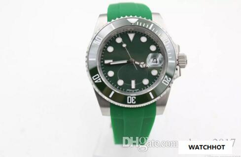 2018 Hot sell Top sale Mens watch high quality automatic Rubber Green watches for men wristwatch ceramic bezel sapphire glass Original clasp