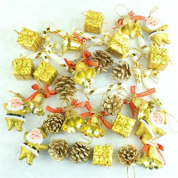 36 pcs/Pack Christmas Ornament Mini Gift Box Stars Ball Pinecone Baubles Christmas Tree Pendant Xmas Ornaments Decorations