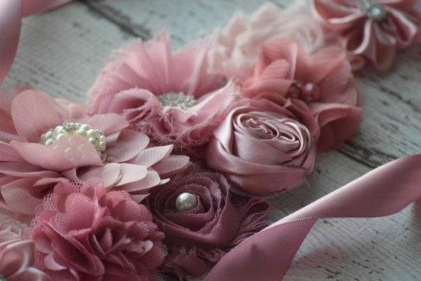 2018 European And American Fashion Sweet Sweet Bean Paste Pink Flower Lace Waist Dress Wedding Dress Waist Ornaments