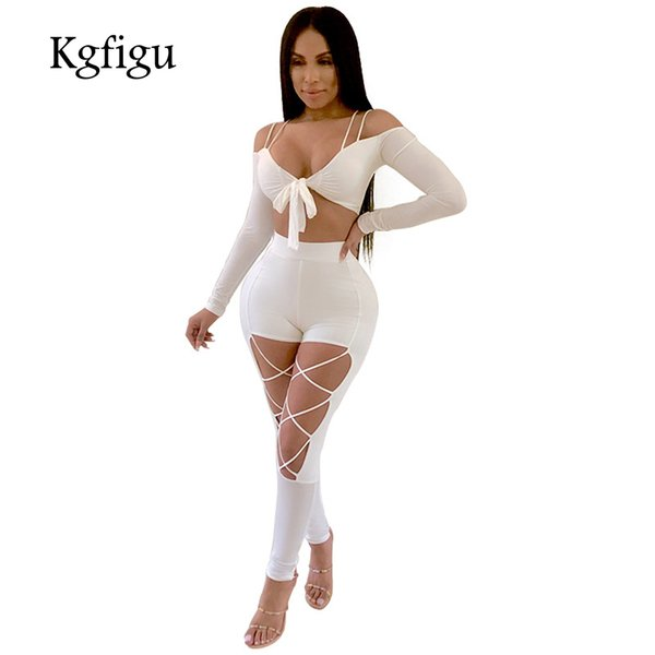 3811c5044de4 KGFIGU 2018 Women sets Sexy slash neck front tie up crop tops and pencil  pants Clubwear Ladies white cut out two pieces outfits