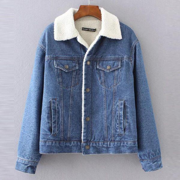 Warm winter denim jacket for Female 2018 New Fashion Autumn Winter Wool lining Jeans Coat Women Bomber Jackets casaco feminino Y18102402