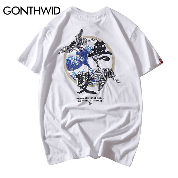 GONTHWID Japanese Embroidery Crane Waves Printed Short Sleeve T Shirts Hip Hop Casual Tshirts Streetwear Mens Summer Tops Tees