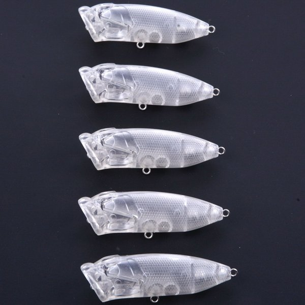7cm 10g Popper Blank Transparent Lures Bodies Walking Bait Fishing Lure Top Water Unpainted Poper Topwater for Saltwater Freshwater