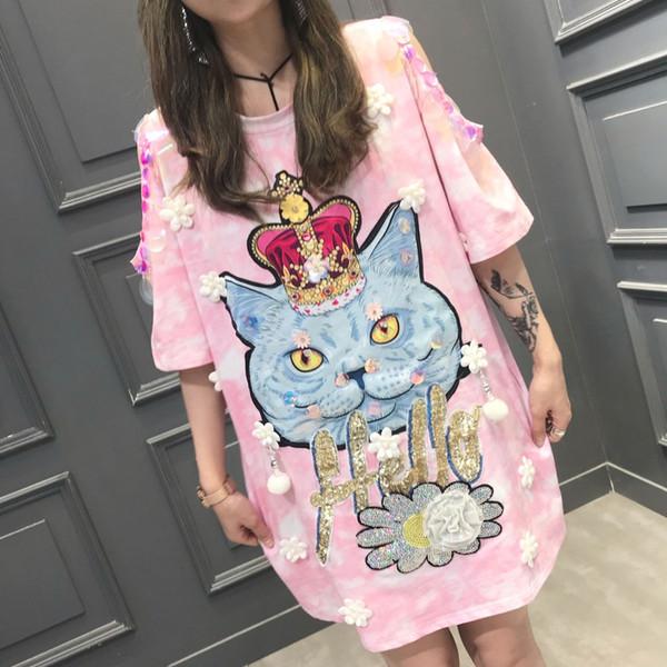 Women's High Quality Cartoon Crown Cat T-Shirt Novelty Hollow Out Short Sleeve Tops Casual Long Sequins Tees Femenina Camiseta