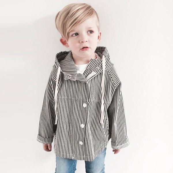 2018 Outono Crianças Menino Meninas Trench Coat Crianças Casuais Listrado Com Capuz Longo Casaco Jaqueta Trench Coat