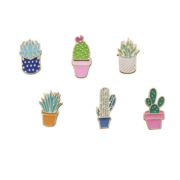 Flower Plant Corsage Brooches Cheap Fashion Jewelry Accessories Wild Simple Lovely Women Gift Cactus Drop oil Brooch New Hot