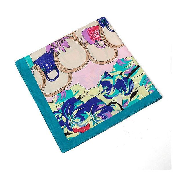 handmade design Women 100% Silk Square Scarf France Paris Satin Foulard Femme Echarpe Joker Blue Print Twill Scarves 60*60CM
