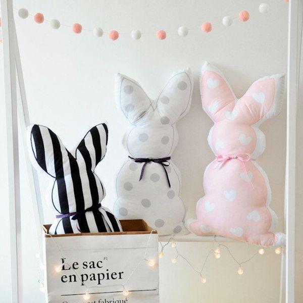 Cute Rabbit Ears Toys Sleep Doll Comfort Pillow Long Eyelashes Cushion Baby Room Photo Props Decoration 55cm