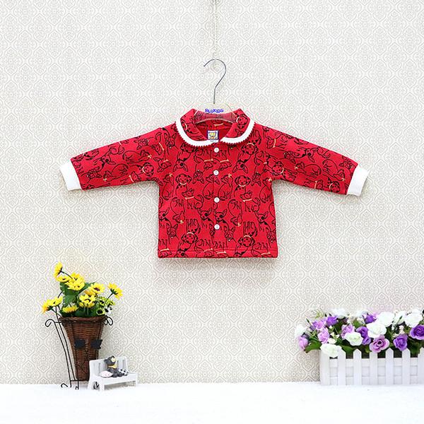 Algodão do bebê com camisas da menina de lã 0-24 meses jaqueta meninas com botão crianças blusa de manga longa roupas de estilo princesa