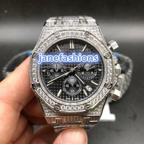 montre la boutique de mode de diamant d'argent des hommes de vente chaude Montre chronographe à quartz VK montres de haute qualité Livraison gratuite