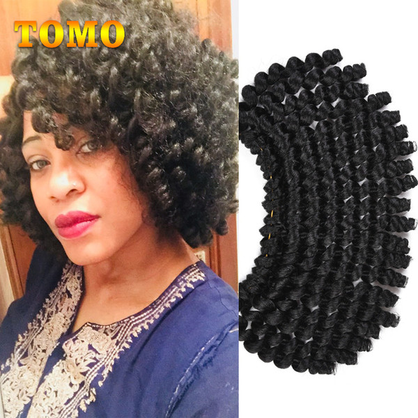 TOMO Jumpy Wand Curl Crochet Braids Hair for Women Synthetic 8Inch Short Jamaican Bounce Curly Synthetic Crochet Hair Extension 20roots/Pack
