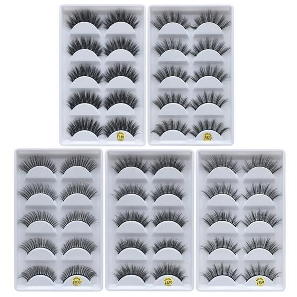 3D Vizon Kirpik Göz Lashes 5 çift / kutu El Yapımı Çapraz Kirpik uzantıları Makyaj Doğa Uzun Kalın Yanlış Kirpik Tam Şerit Sahte Lashes