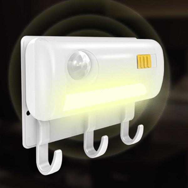 Praktische Design Haushalt Infrarot Induktions-bewegungsmelder Sensor Nachtlicht Lampe LED Nachtlicht + Wandhalterung Haken