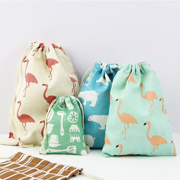 3pcs/set Christmas Gift Bag Storage Bag Cotton Linen Drawstring Bundle Bags Candy Tea Gift Wrap Party Decorations QW8417